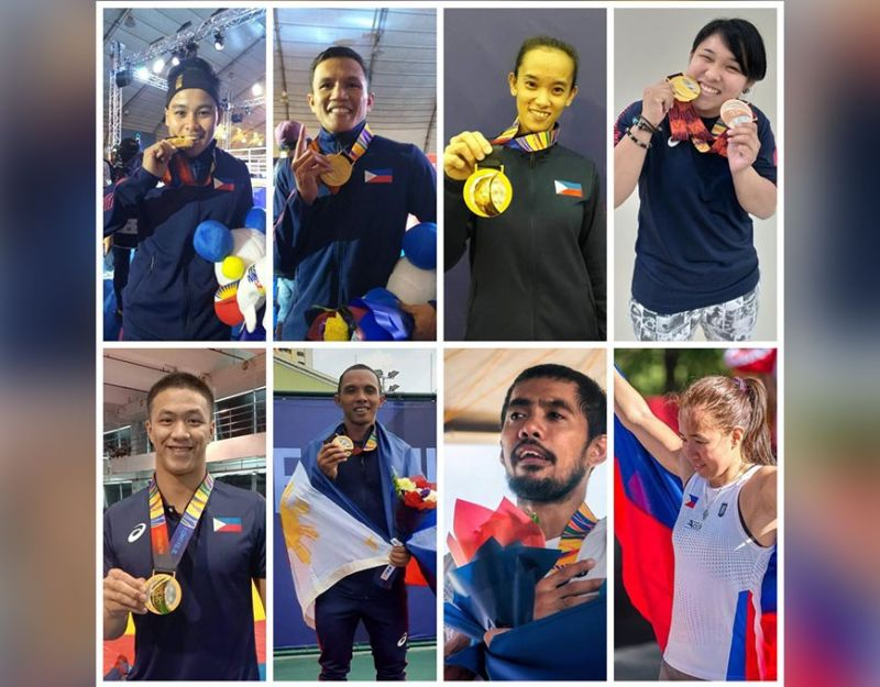 SEA GAMES CHAMPIONS. From top left, Davao Region's Nesthy Alcayde Petecio, Charly Suarez, Jezebel Morcillo, Mariya Takahashi; bottom from left, Chino Sy Tancontian, Mark Anthony Alcoseba, Nathaniel, Sanchez and Klymille Keilah Rodriguez contribute gold medals for Team Philippines, regained 2005 supremacy by topping the overall medal tally of the 30th Southeast Asian (SEA) Games that closed at New Clark City in Capas, Tarlac Wednesday, December 11. (MLSA with contributed photos)