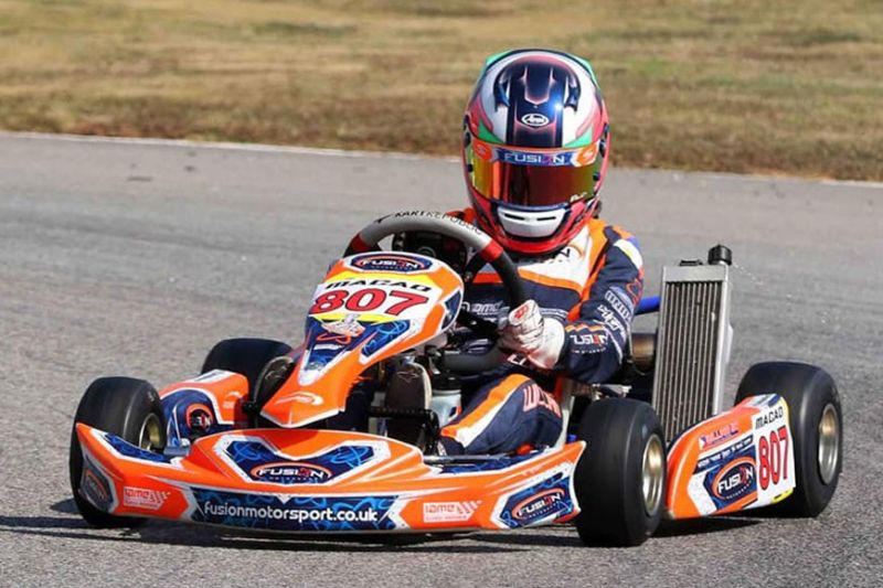 HIS STORY Is HISTORY. William John Riley Tiu Go on his way to another first place finish in the Macau Round 4 of the Asian Karting Open Championship. Go won the overall title (inset), his third overall championships for the year. (Contributed Photo / Bong Boado)