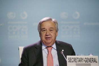 SPAIN. Antonio Guterres, Secretary-General of the United Nations, delivers a speech during a Global Climate Plenary event at the COP25 climate talks congress in Madrid, Spain on Wednesday, December 11. (AP)