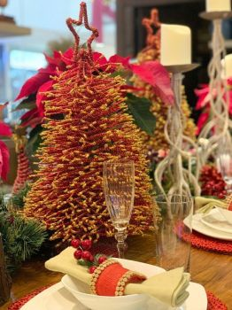 A favorite home accessory for the holidays, tabletop Christmas tree made of t'nalak fibers and wires. (Photo by Jinggoy I. Salvador)