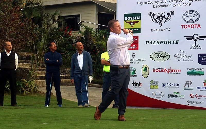 BAGUIO. Camp John Hay Golf Club Tim Allen leads the ceremonial tee–off to start second round of the 70th FIL-AM Golf Tournament at Baguio Country Club and Camp John Hay. (Photo by Zaldy Comanda)
