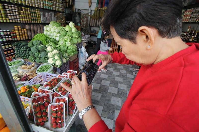 BAGUIO.  An elder tourist takes a photo of the famous Baguio strawberries before buying the product. (Photo by Jean Nicole Cortes)