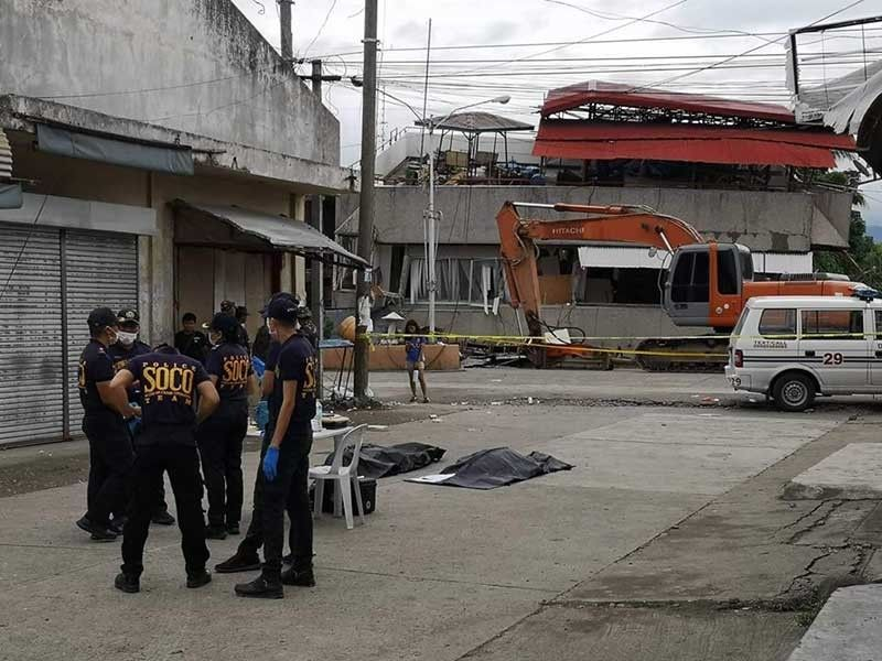 DAVAO. Two bodies were recovered Monday morning, December 16, 2019, from a collapsed three-story building in Davao del Sur. (Photo by Macky Lim)