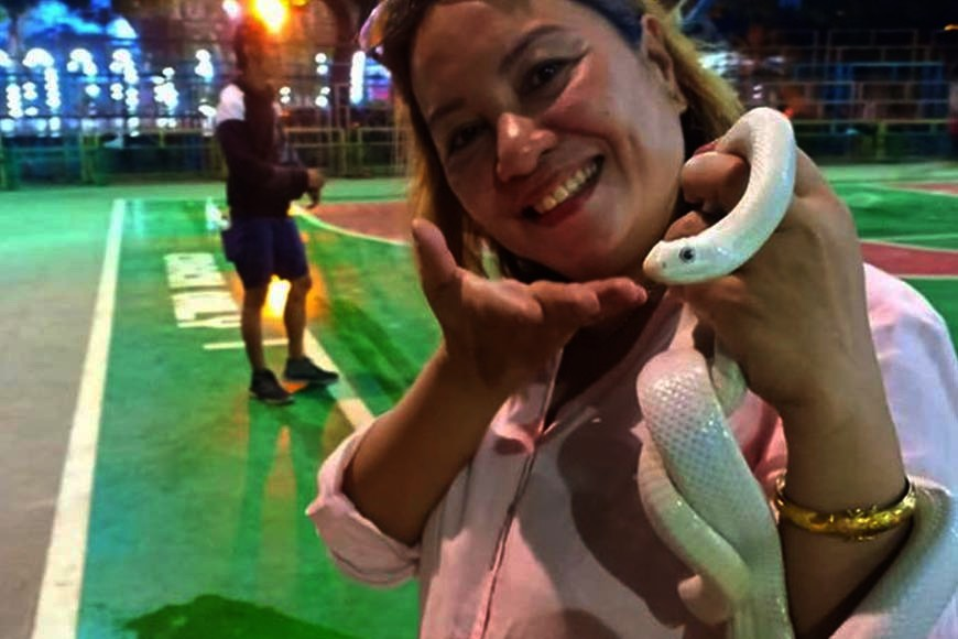 CAGAYAN DE ORO. The favorite pet snake of Rita May, wife of Tagoloan Mayor Gomer Sabio. The reptile came from Texas, US. There are no native species of it in the Philippines. (Lynde Salgados)
