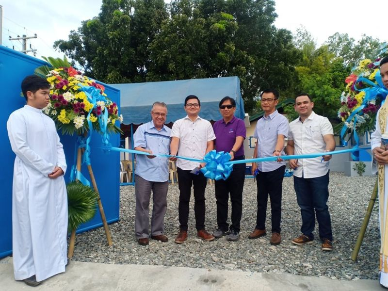 PAMPANGA. City of San Fernando Water District general manager Jorge Gumba and PrimeWater branch manager Jan Canlas lead the opening of the pumping station inside Saint Jude Village. Joining them are Chairman Fer Caylao, Atty. Cesar Ong and Marnellie Bautista. (Ian Ocampo Flora)