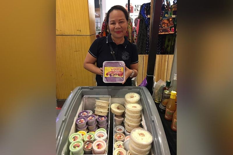 DAVAO. Luisa Encarnacion Gastalla posed with her ice cream displays in her stall at Abreeza Ayala Malls in Davao City. (Photo by Roberto A. Gumba Jr.)