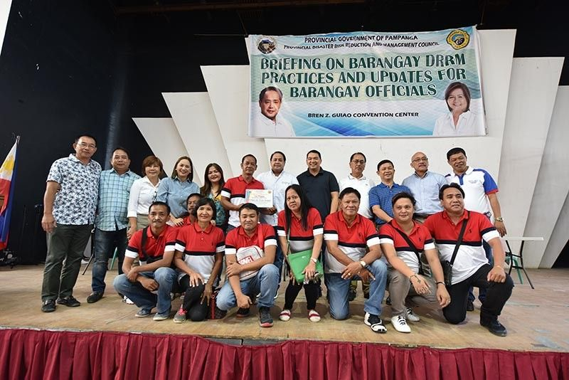 PAMPANGA. Governor Dennis Pineda, Provincial Board members, and Provincial Disaster Risk Reduction Management Officer Angelina Blanco join best DRRM practices 1st runner-up Sto. Cristo, Guagua. (Pampanga PIO)