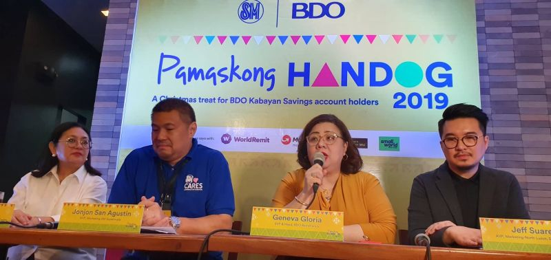 "SAN FERNANDO. Grace Magno, VP Corporate Marketing of SM Supermalls; Jonjon San Agustin, SVP, Marketing SM Supermalls; Geneva Gloria, SVP and Head, BDO Remittance; and Jeff Suarez, AVP, Marketing- North Luzon, SM Supermalls answer questions from the Pampanga newsmen during a press conference on the ""Pamaskong Handog 2019"", a Christmas treat for BDO Kabayan Savings account holders at SM City Telabastagan, City of San Fernando on Saturday, December 21, 2019. (Photo by Chris Navarro)"