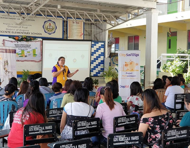 MONEY MATTERS. Teachers in Rizal province in Luzon listen to a lecturer from City Savings Bank about securing their financial future by managing their income.( Contributed Photo )