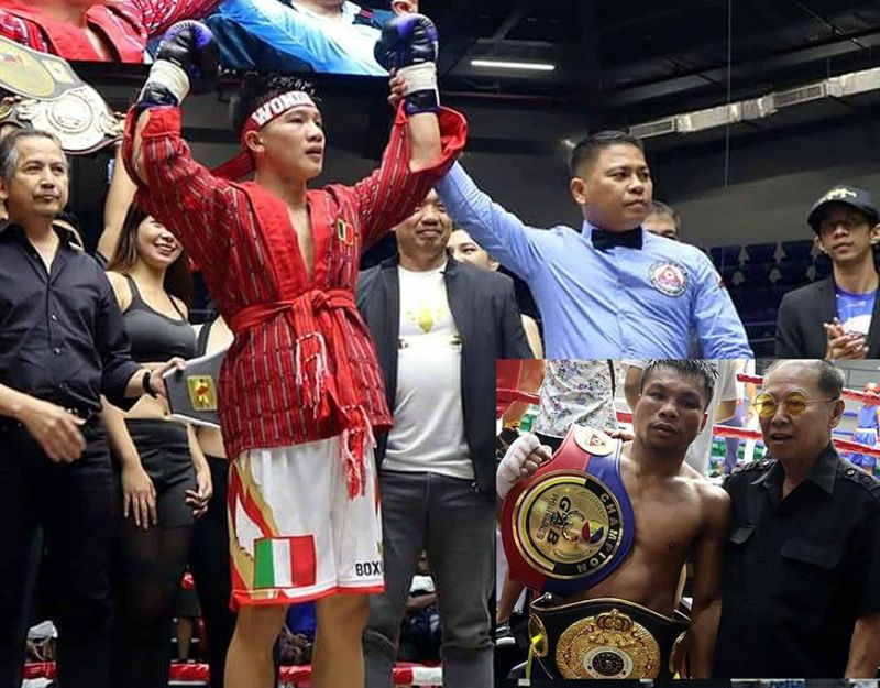 KINGS OF THE NORTH. Ifugao's Carl Jammes Martin once again made an impact inside the ring after stopping his opponent in the third round to retain his Philippine Boxing Federation bantamweight title while (inset) Carlo Magali won via a split decision over Al Toyogon of Gingoog City to claim the vacant Asian Boxing Federation super featherweight and vacant Philippine super featherweight is joined by boxing patron Naris Singwancha. (Photo by Brico Santig)