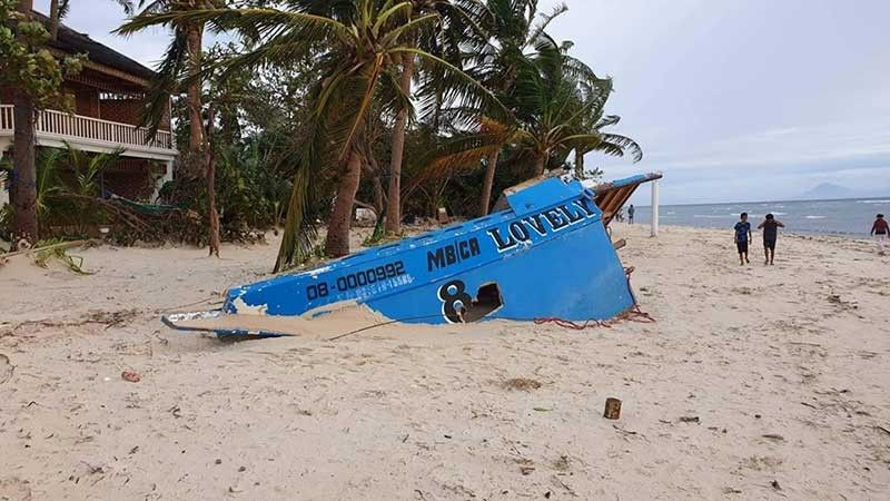 CEBU. A boat on Malapascua Island in Daanbantayan, Cebu was destroyed by Typhoon Ursula. (Photo from Philippine Coast Guard)