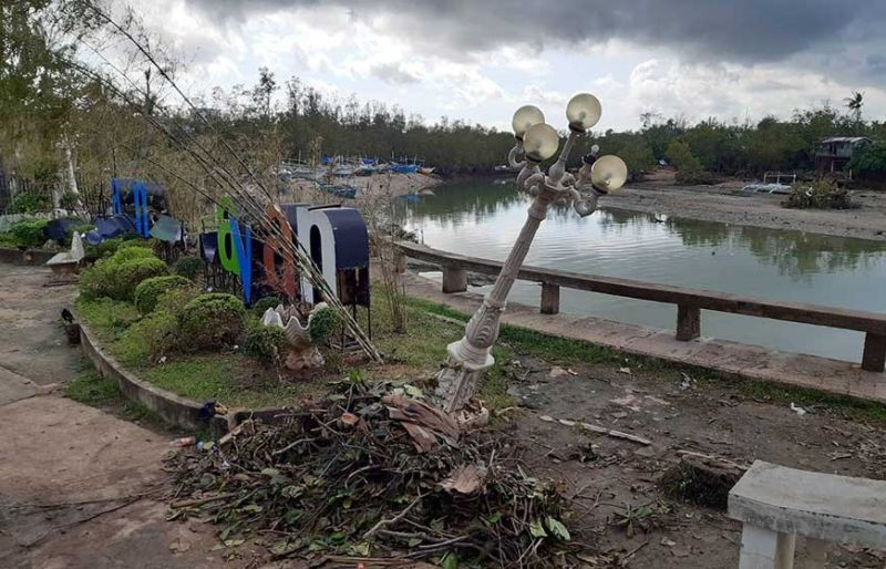 TEMPEST'S PLAYGROUND. Typhoon Ursula damages the park near the municipal building of Daanbantayan town, Cebu. (SunStar photo / Arvie Veloso)