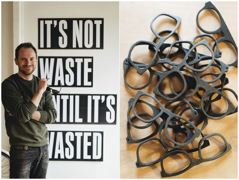 BELGIUM. This combination of photos released by w.r.yuma shows Belgian designer Sebastiaan de Neubourg (left) and a collection of frames made from recycled materials. De Neubourg uses recycled plastic bottles, car dashboards and refrigerators for sunglasses for his brand, w.r.yuma. (AP)
