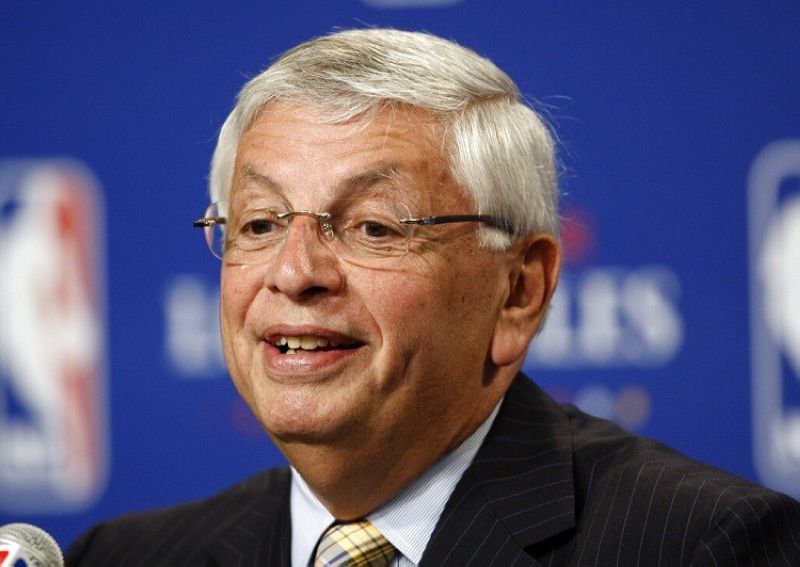 NEW YORK --  In this June 7, 2009, file photo, NBA Commissioner David Stern announces Los Angeles will be the site of the 2011 NBA All-Star basketball game, at a news conference, in Los Angeles. David Stern, who spent 30 years as the NBA's longest-serving commissioner and oversaw its growth into a global power, has died on New Year's Day, Wednesday, Jan. 1, 2020. He was 77. (AP Photo/Matt Sayles, File)