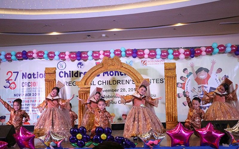 RIGHT TO DANCE. Children from a development center in Talisay City, Cebu perform a traditional dance during the Regional Council for the Welfare of  Children contest in Cebu City on Nov. 30, 2019. The group took the first prize during the event's folk dance competition. (Contributed photo)