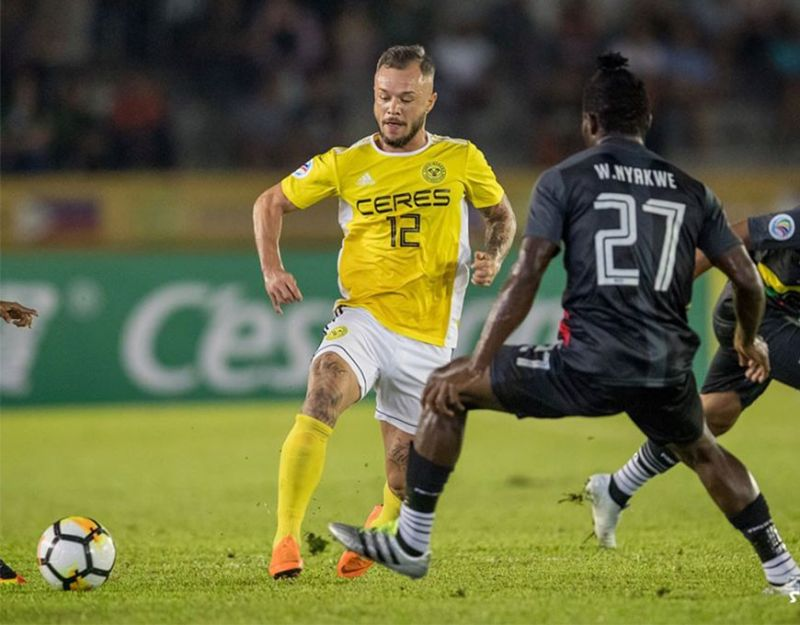 Ceres Negros FC captain Stephan Schrock (12) is expected to lead his team against Shan United FC on January 14 at the Rizal Memorial Stadium in Manila. (Kieron Tan Photo)
