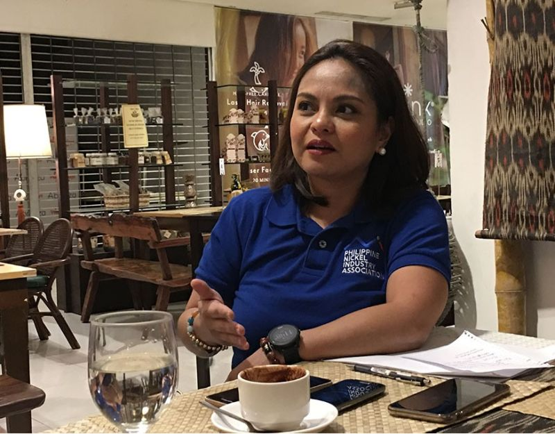 Philippine Nickel Industry Association Executive Director Charmaine Capili shares the latest initiatives undertaken by the nickel mining companies in a press conference on Friday, January 3. (Roberto A. Gumba Jr.)