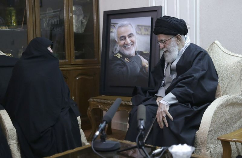 IRAN. In this picture released by the official website of the office of the Iranian supreme leader, Supreme Leader Ayatollah Ali Khamenei (right_ meets family of Iranian Revolutionary Guard General Qassem Soleimani, who was killed in the United States (US) airstrike in Iraq, at his home in Tehran, Iran, Friday, January 3, 2020. Iran has vowed
