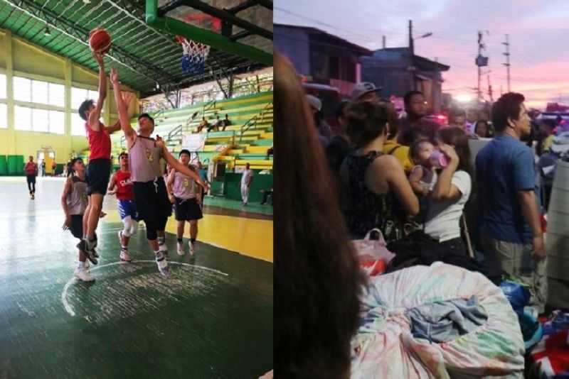 CEBU. (Left) A player from CLBA lofts a shot up over the defense of Team A; (right) Victims of the fire that hit Barangay Duljo Fatima, Cebu City. (Photo by Jonas Panerio, Amper Campaña)