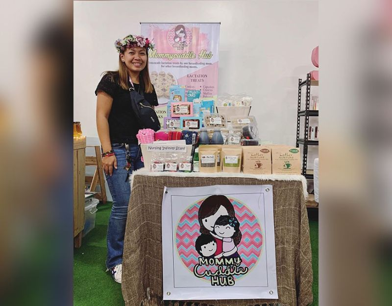 Mommy Kristal Lynn Macuto in one of her booths. (Photo from Mommycuddle Hub's Facebook Page)