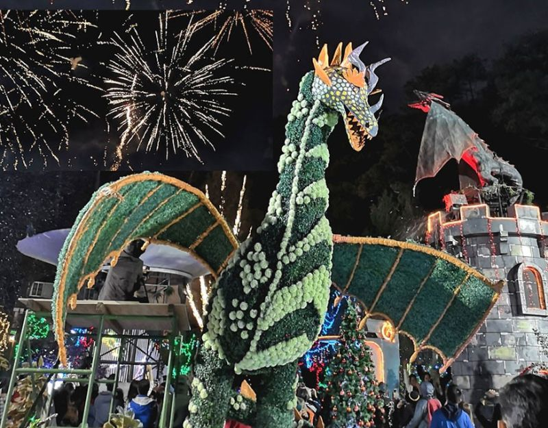 BAGUIO. A fireworks display caps the Christmas season at the Baguio Country Club Christmas Village where locals and tourists converge during the holidays. The theme park will operate until January 31, 2020 due to insistent public demand. (Dave Leprozo Jr.)