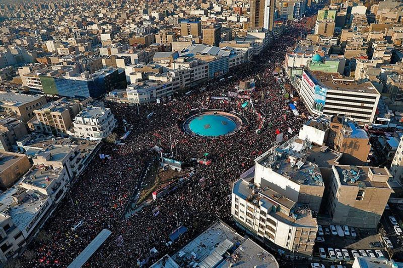 IRAN. In this aerial photo released by an official website of the office of the Iranian supreme leader, mourners attend a funeral ceremony for Iranian General Qassem Soleimani and his comrades, who were killed in Iraq in a United States (US) drone strike on Friday, January 3, 2020 in Tehran, Iran, Monday, January 6. The processions mark the first time Iran honored a single man with a multi-city ceremony. Not even Ayatollah Ruhollah Khomeini, who founded the Islamic Republic, received such a processional with his death in 1989. (AP)