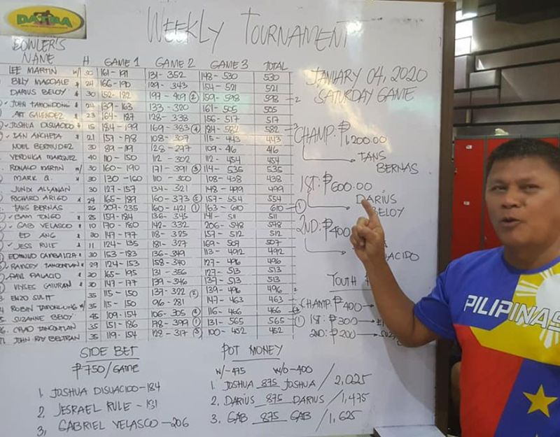 DAVAO. Bowling champ Tans Bernas wins the first Datba weekly tournament title in 2020. (From Jesrael Rule Facebook post)