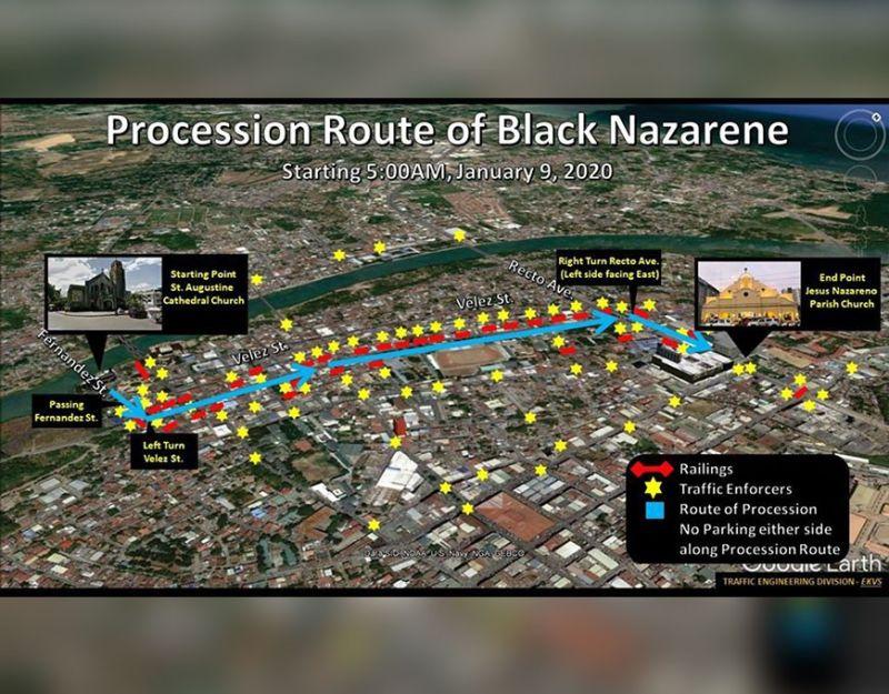 CAGAYAN DE ORO. Kini ang giduso nga Special Traffic Scheme sa prosisyon sa Black Nazarene karong adlawa. (Hulagway gikan sa CIO)