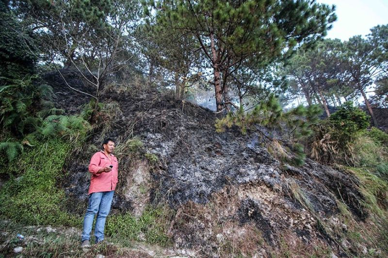 BENGUET. Kagawad Victor Sapalit shows a portion of the burnt area in Sitio Besong, Mt. Sto Tomas, Poblacion, Tuba, Benguet on Tuesday, January 7, 2020. (Jean Nicole Cortes)