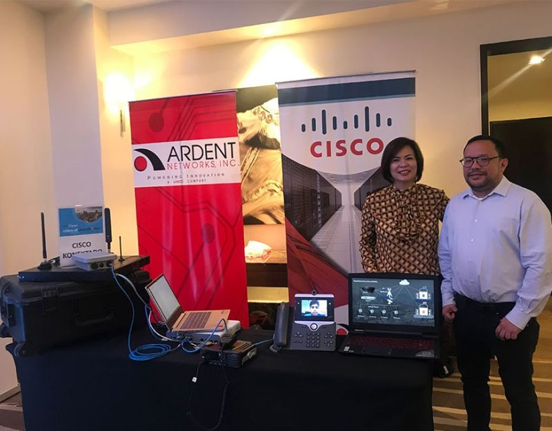 CEBU. Cisco Philippines managing director Karrie Ilagan, (left) and partner account manager for sales Bong Rollan present Cisco Philippines' Cisco Konektado, an all-in-one connectivity, communications and collaboration solution that can be used to establish or strengthen connections between the high-risk local government units and their respective municipalities as well as with government bodies that oversee disaster preparation and response. (Sunstar Photo/Katlene O. Cacho)