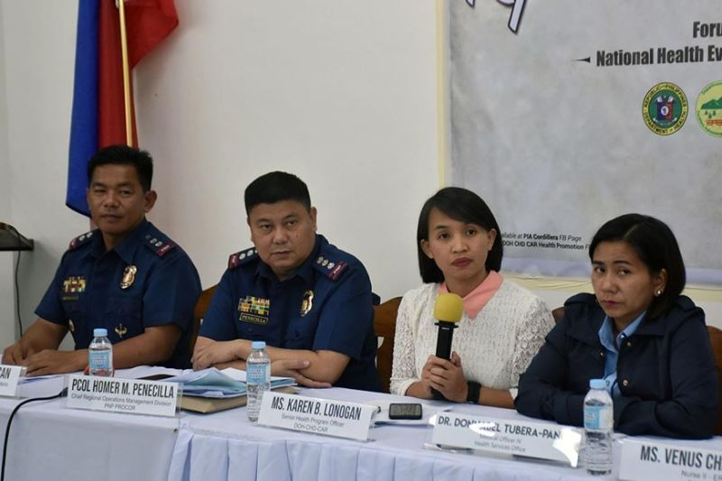 Department of Health (DOH)–Cordillera and Police Regional Office (PRO)-Cordillera officials are calling for the total ban on the use and sale of fireworks and firecrackers to ensure the safety of the residents as they celebrate the Christmas and New Year annually during the Kapihan sa Baguio media forum last week. In the photo is, PRO-Cordillera Administrative Region Civil Security Unit Chief, Lieutenant Colonel Rex Buyuccan, PRO-COR ROPD Chief Colonel Homer Penecilla, DOH-CAR Senior Health Program Officer Karen Lonogan and Baguio City Health Services Office Medical Officer Donnabel Tubera. (Photo by Redjie Melvic Cawis)