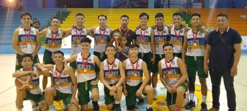 The players of Pajo National High School pose with the title in the Lapu-Lapu City qualifier of the National Basketball Training Center basketball tournament. / Contributed