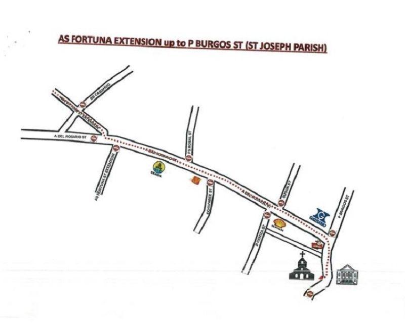 AS Fortuna Extenssionup to P. Burgos Street (Saint Joseph Parish). (Map courtesy of Traffic Enforcement Agency of Mandaue)