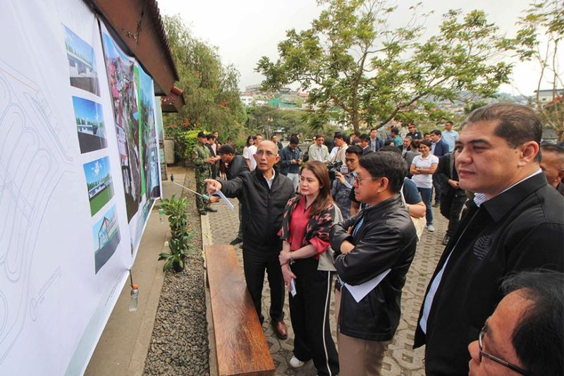 BAGUIO CITY. (From left to right) Baguio City Mayor Benjamin Magalong, Tourism Secretary Bernadette Romulo – Puyat, DILG Secretary Eduardo Año and DENR Assistant Secretary Jesus Enrico Moises Salazar, representing Secretary Roy Cimatu discuss the Sewage Treatment Plant (STP) rehabilitation plan during an ocular inspection January 10. A Baguio Water District official welcomed a plan to collect fee to help address the problem of Baguio's sewerage system. (Photo by Jean Nicole Cortes)