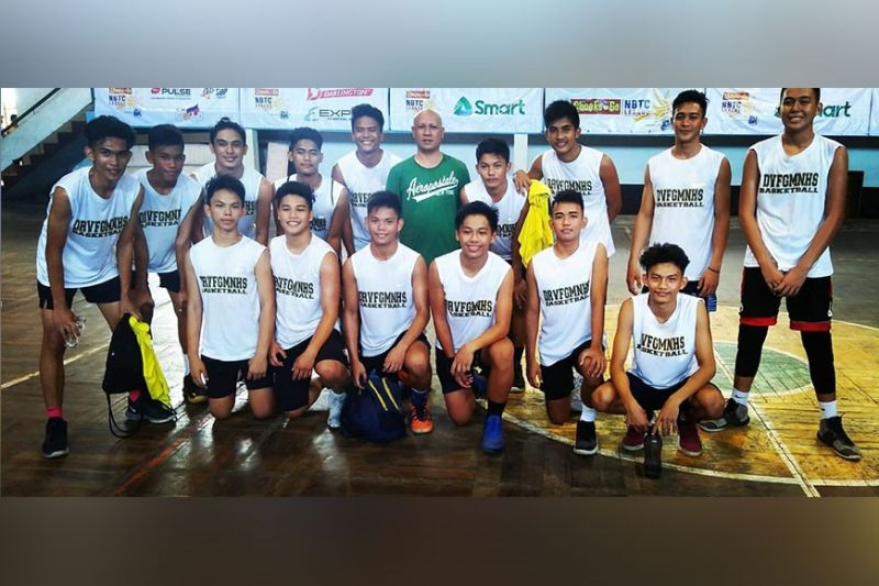 Dr. Vicente F. Gustillo Memorial National High School basketball team in posterity after a dominating 105-83 victory over CEDAR College. (NBTC Silay-Sagay Photo)