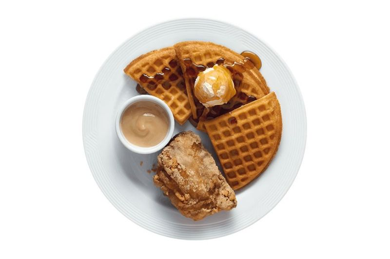 Pan Chicken and Golden Brown Waffle