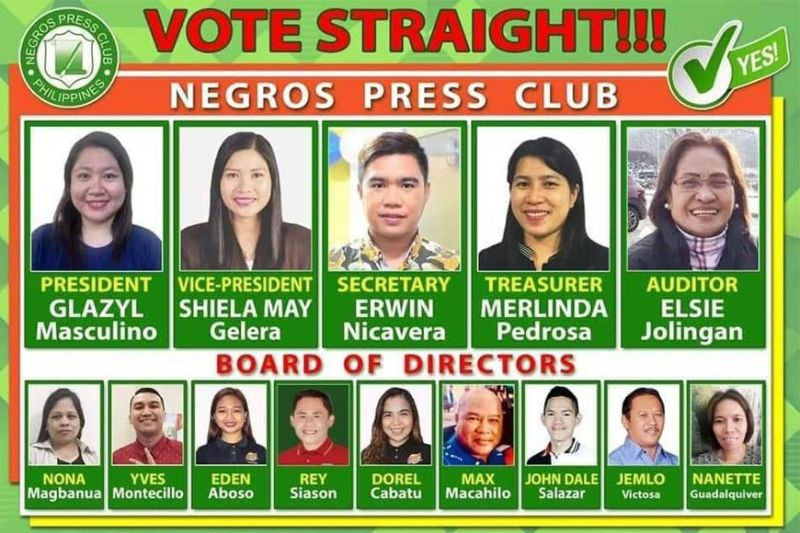 BACOLOD. Daily Guardian journalist Glazyl Masculino, presidential aspirant, leads her fellow candidates as they vie for various positions in the Negros Press Club. (Contributed photo)