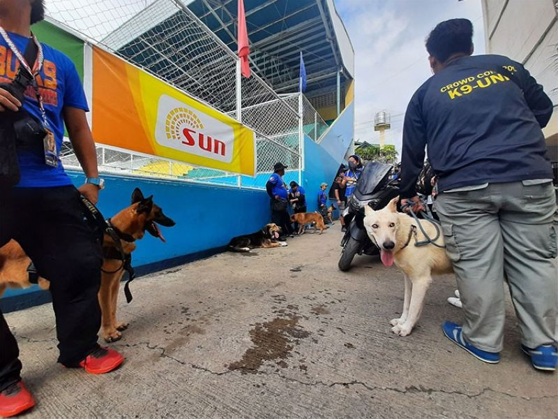 CEBU. K9 dogs have been deployed at the Cebu City Sports Complex and around the Sinulog Grand Parade route to help secure the celebration. (Arnold Y. Bustamante)