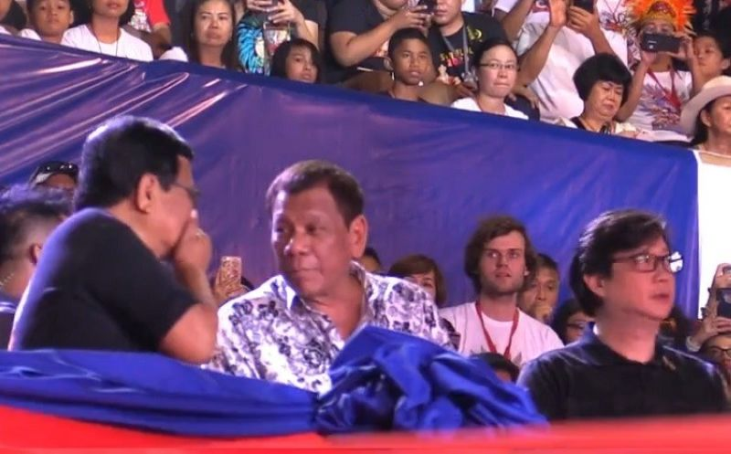 President Rodrigo Duterte together with Cebu City Mayor Edgardo Labella and Office of the Presidential Assistant for the Visayas Michael Dino. (Screen grabbed from SunStar's live coverage of Sinulog 2020)