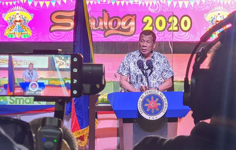 CEBU. President Rodrigo Duterte delivers a speech at the Cebu City Sports Center during the Sinulog Grand Parade Sunday, January 19, 2020. (Arni Aclao)