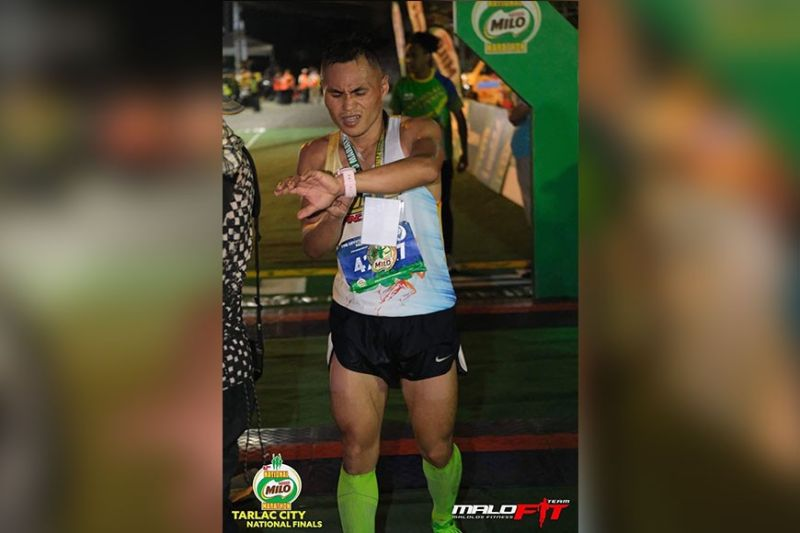 DAVAO. Arlan Arbois Jr., who was among the early leaders, finishes fifth in men's 42K event of the 42nd National Milo Marathon National Finals held in Tarlac City Sunday, January 19, 2020. (Team Malolos Fitness photo)