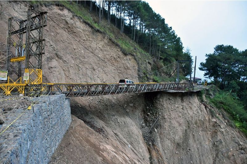 BAGUIO. Light vehicles pass one at a time at the Gotong Bailey Bridge in Busa, Sabangan, which was opened in November 2019 for easier access to Mountain Province. (Redjie Melvic Cawis)