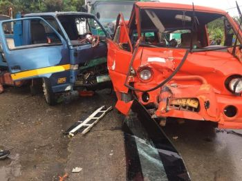 BACOLOD. A senior citizen dies, while three others are injured in a multiple collision along the highway in Barangay Mansilingan in Bacolod City Monday morning, January 20, 2020. (BCPO photo)  onerror=