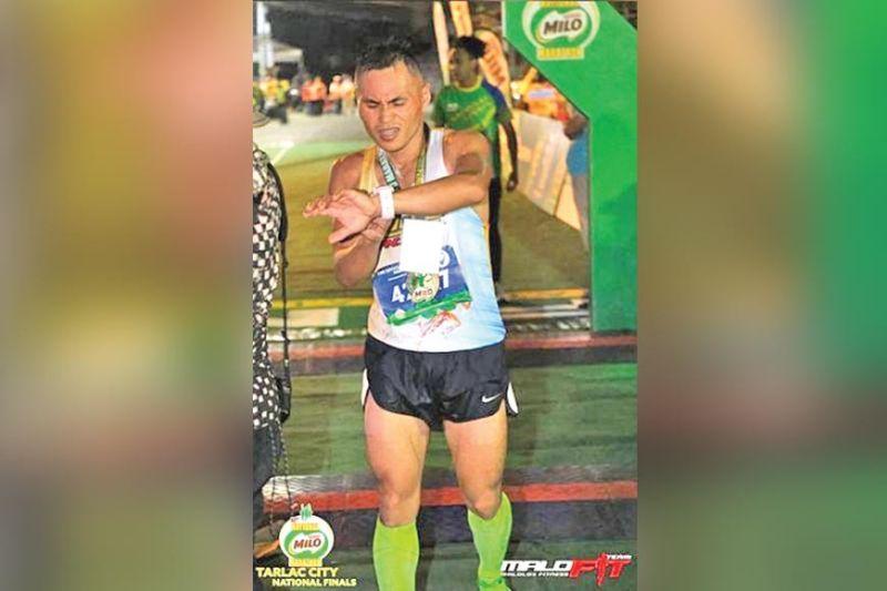 DAVAO. Ang Dabawenyong si Arlan Arbois Jr. mitapos sa ikalimang pwesto sa men's 42K event sa 42nd National Milo Marathon National Finals sa Tarlac City, Enero 19, 2020. (Team Malolos Fitness photo)