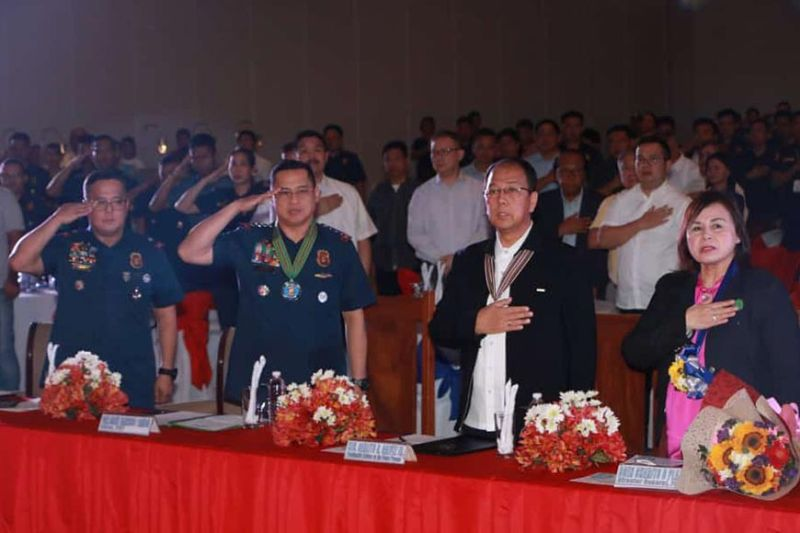 PAMPANGA. (L-R) Police Brigadier General Rhodel Sermonia, director PRO-Central Luzon; Police General Archie Francisco Gamboa, Chief PNP; Secretary Carlito Galvez Jr., Presidential Peace Adviser on End Local Communist Armed Conflict and Brigadier General Charito Plaza, Director General, PEZA, salute the Philippine flag during Wednesday's launching of the Joint Industrial Peace and Concern Office at ASEAN Convention Center, Clark Freeport Zone, Pampanga. (Photo by Chris Navarro)