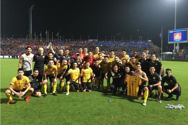 BACOLOD. Ceres Negros FC celebrates after a stunning win against Port FC. (Nicolas Golez FB Photo)