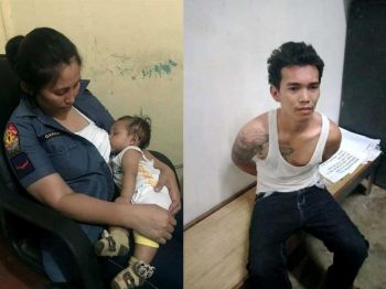 SURROGATE MOTHER. Policewoman Michelle Garcia (left) breastfeeds the two-month-old child of couple Romnick (right) and Dailyn Melecio at the Carcar City Police station. Neighbors of the Melecio couple in Barangay Liburon, Carcar City had promptly saved the baby who was in the house when Romnick fatally stabbed his wife and then burned down their house. (CARCAR CITY POLICE)