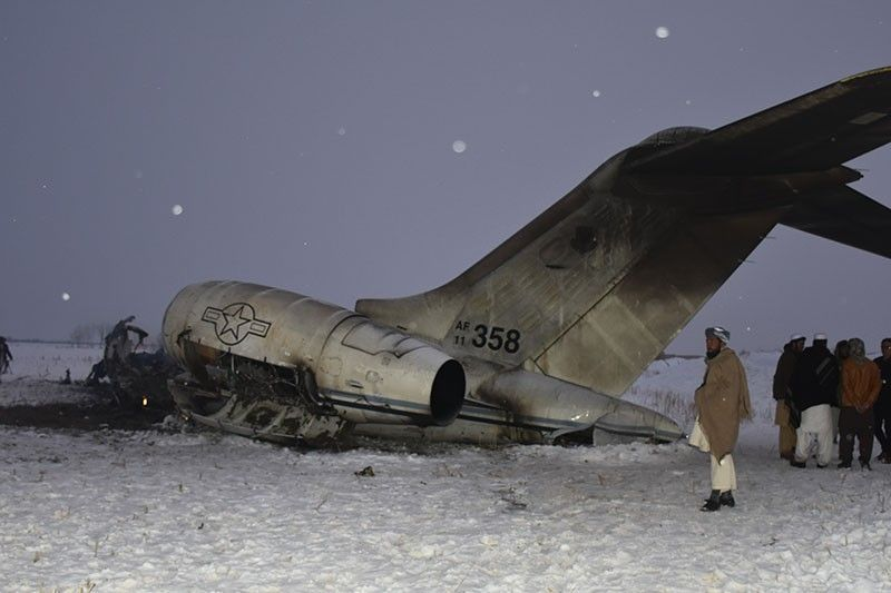 AFGHANISTAN. A wreckage of a U.S. military aircraft that crashed in Ghazni province, Afghanistan, is seen Monday, January 27, 2020. The aircraft crashed in Ghazni province on Monday, A U.S. military aircraft crashed in eastern Afghanistan on Monday, an American official said, adding that there were no indications so far it'd been brought down by enemy fire. (AP Photo)