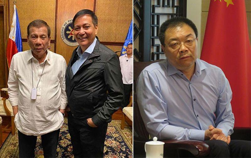 CEBU. Cebu City Vice Mayor Mike Rama with President Rodrigo Duterte (left photo) and Chinese Consul General Jia Li (right). (Photos from Rama's Facebook page and Allan Cuizon of SunStar Cebu)