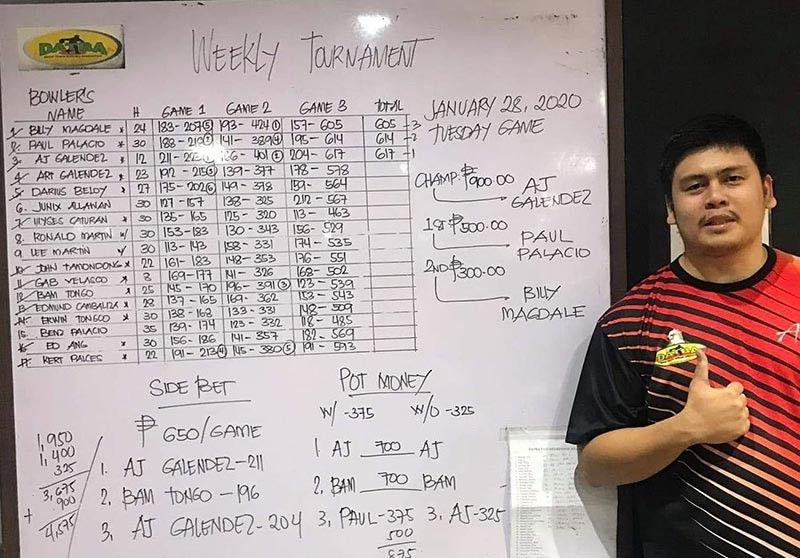 DAVAO. Arthur John (AJ) Galendez wins the title of the Davao Tenpin Bowlers Association (Datba) Weekly Tournament held Tuesday, January 28, at SM Lanang Premier Bowling Center. (Jesrael Rule Facebook)